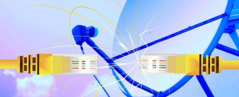 televisore piatto aerea e satellitare con tema azzurro