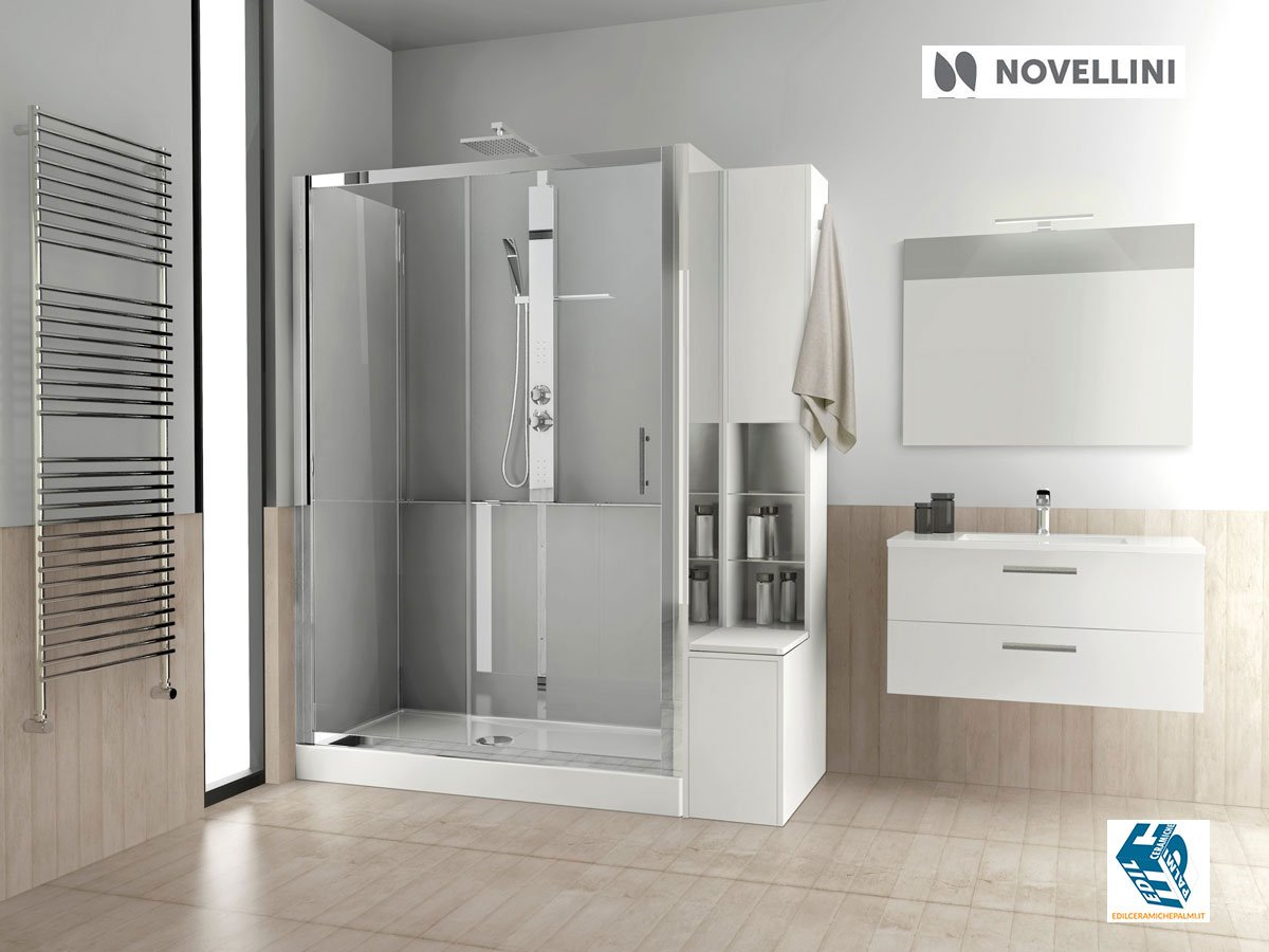 Moderno bagno con doccia e idro massaggio,riscaldatore a parete.semplice e pratico