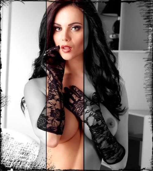 una donna con dei guanti in pizzo di color nero