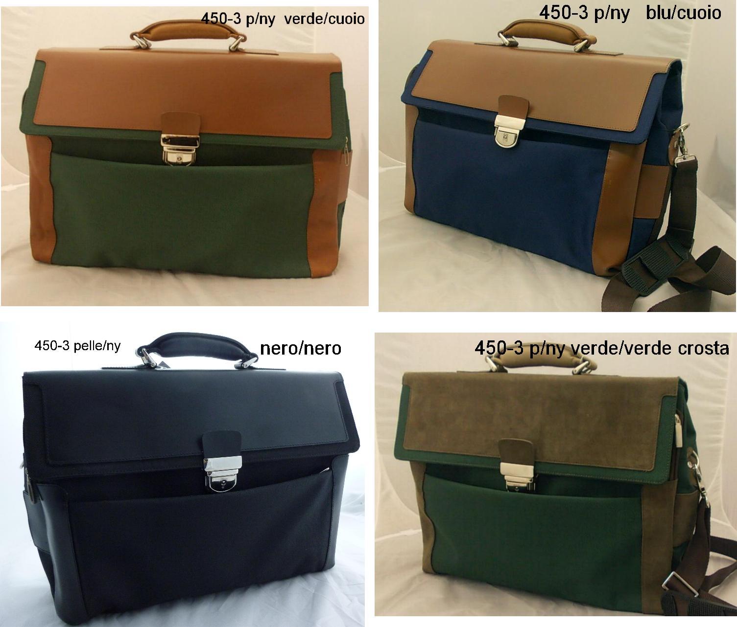 borsa porta documenti in verde blu e colori misti