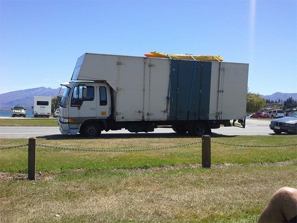 View of the truck for transporting big furniture
