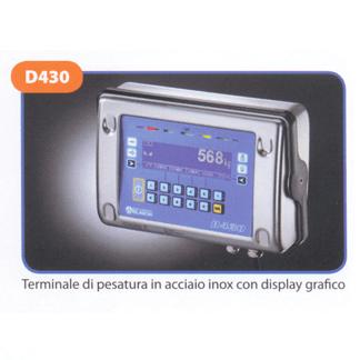 Terminale di pesatura in acciaio inox con display grafico