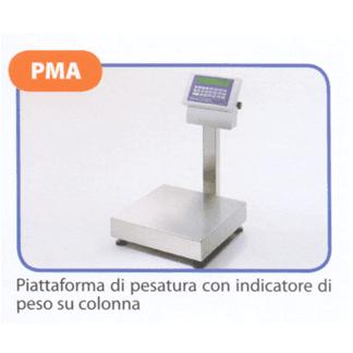 Piattaforma di pesatura con indicatore di peso su colonna