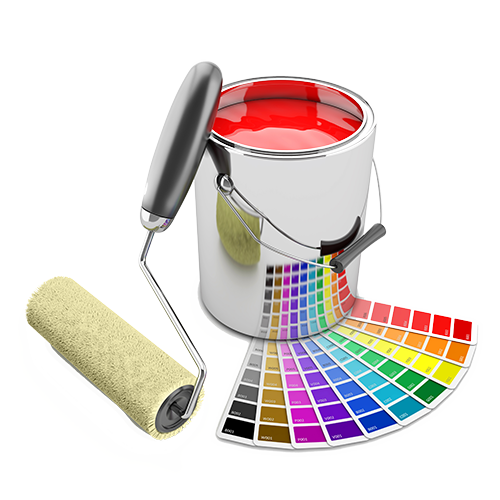 barattolo di vernice con rullo