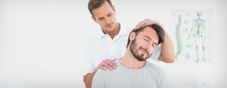 patient getting treatment for neck aches