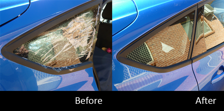 Before and after excellent car window replacement in Bathurst