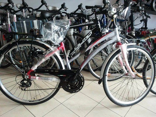 una bicicletta grigia a sfumature rosse
