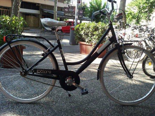 una bicicletta nera con il sellino bianco