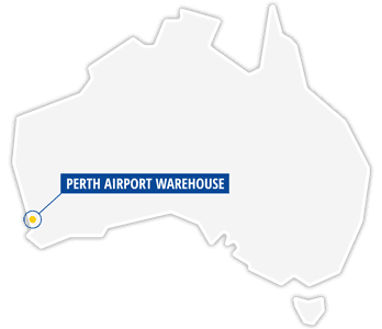 A map showing the location of Jayde Transport Warehouse at Perth Airport