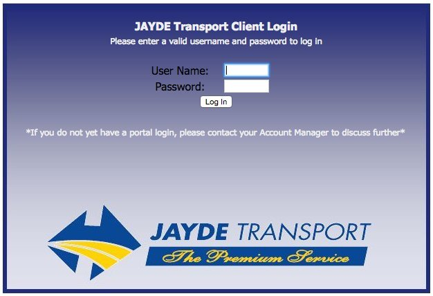 jayde transport client login portal
