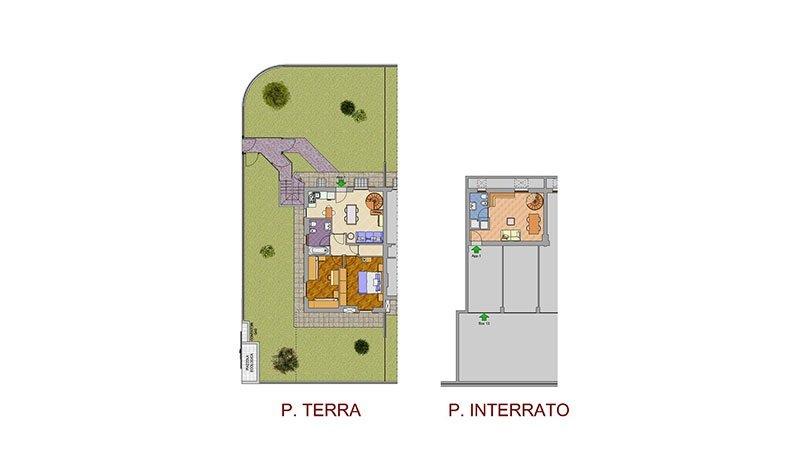 un disegno di un piano terra e un piano interrato