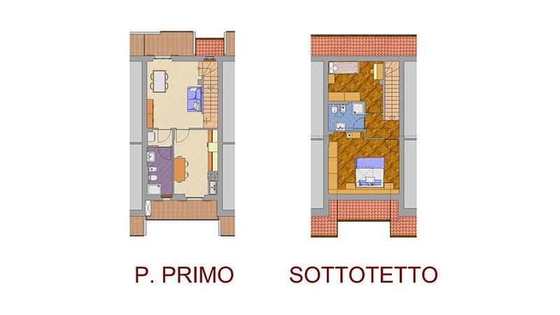 un disegno di un primo piano e un sottotetto