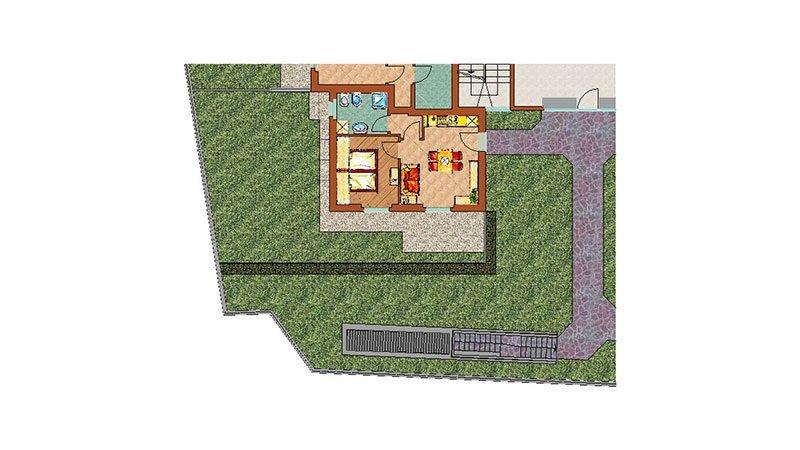 un disegno dell'interno di una casa