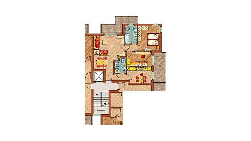 un disegno dell'interno di una casa su uno sfondo bianco