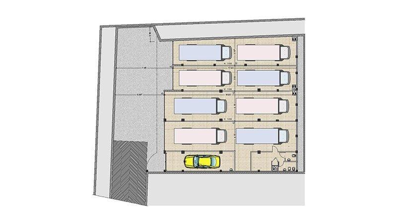 un disegno di un parcheggio