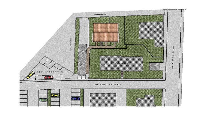 un disegno con i dettagli della strada e dei parcheggi