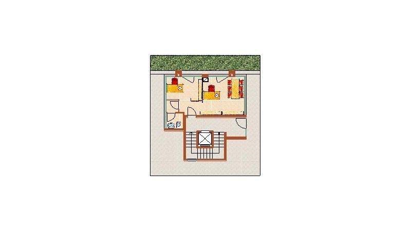 un disegno grafico di una casa