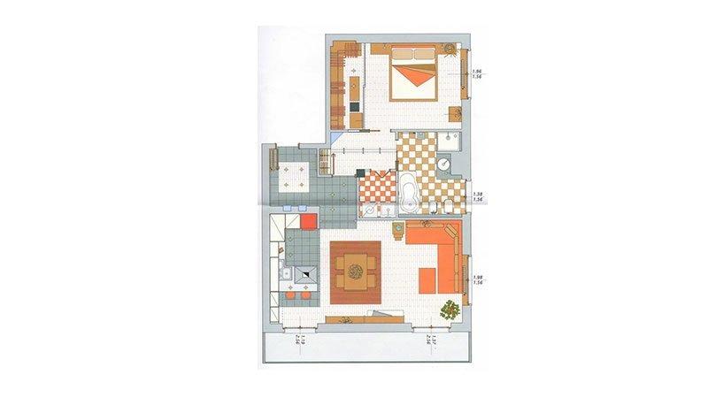 un disegno grafico di una casa con i dettagli di cucina e camera