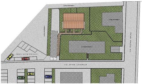 un disegno che mostra i dettagli di parcheggi e delle strade