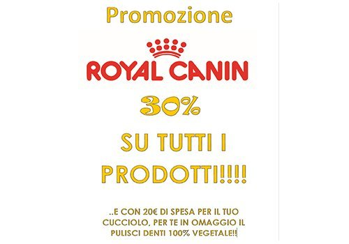 una scritta Royal Canin 30%