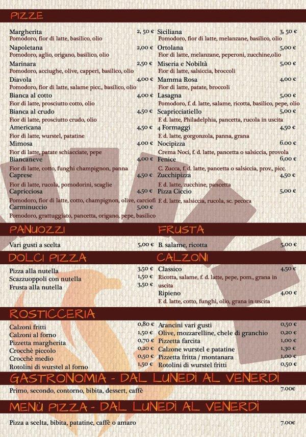 Il menù del ristorante La Fenice Pizzeria Gastronomia Bar a Pontecagnano Faiano