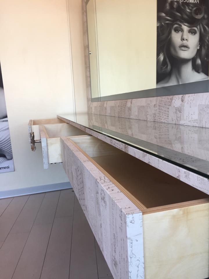 Cassettiera legno effetto marmorizzato