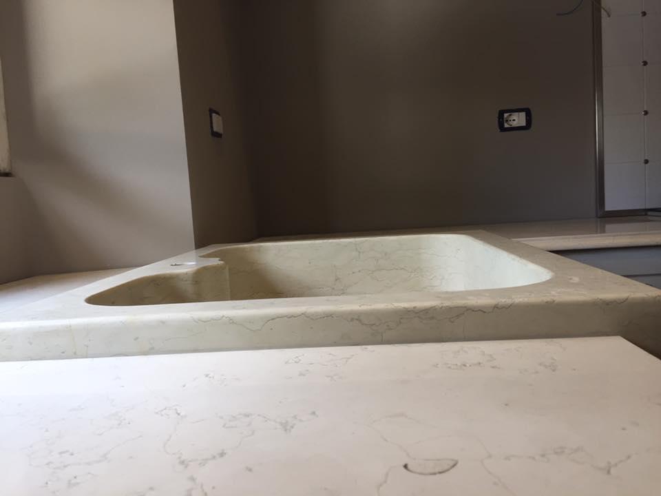 Piano lavello in legno effetto marmo