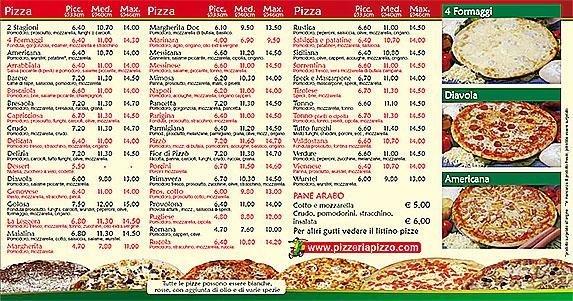 un menù' delle pizze