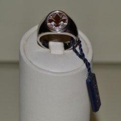 anello in oro bianco, incisione giglio