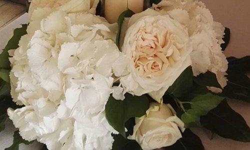 dei fiori e  un velo bianco