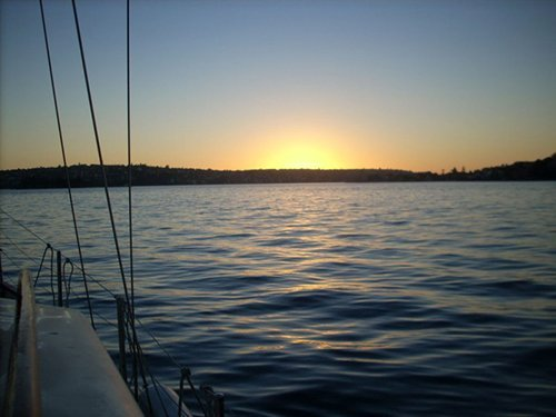 View of a sunrise during sailing