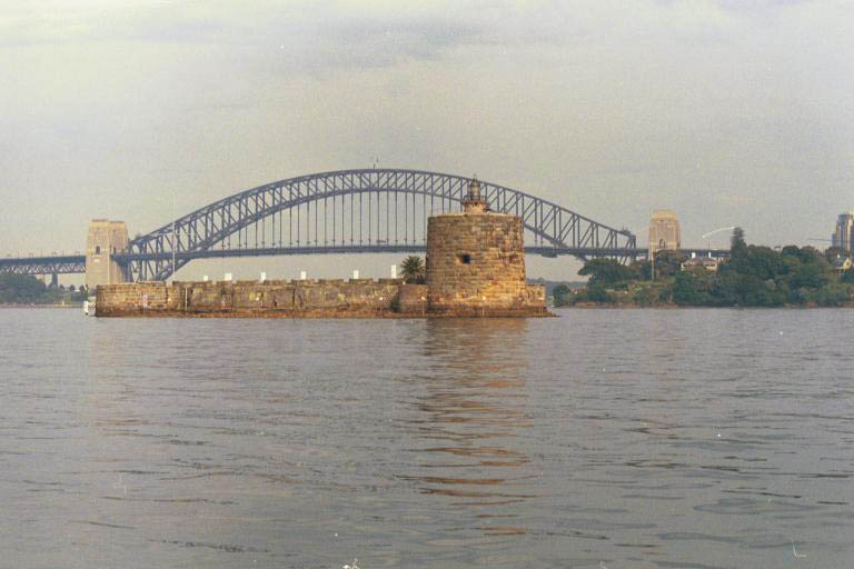 Opera house and the bridge during sunset