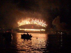 Celebration on new year at the bridge