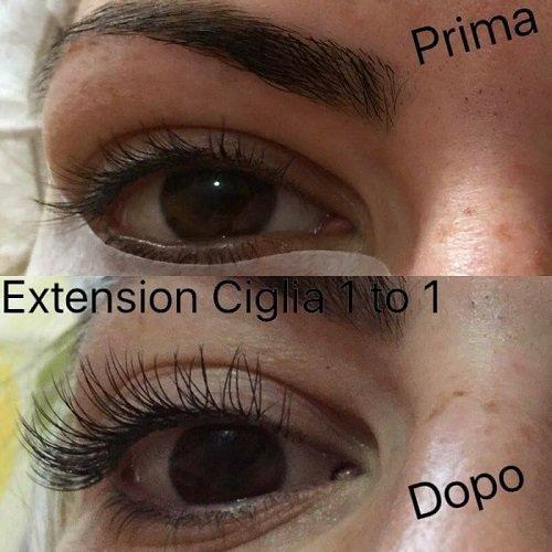 il prima e il dopo di una extension di ciglia