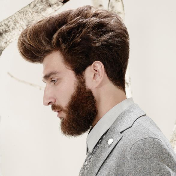 Taglio barba e piega capelli castani