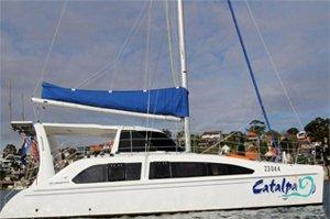 sydney catamaran cruises catalpa boat side view