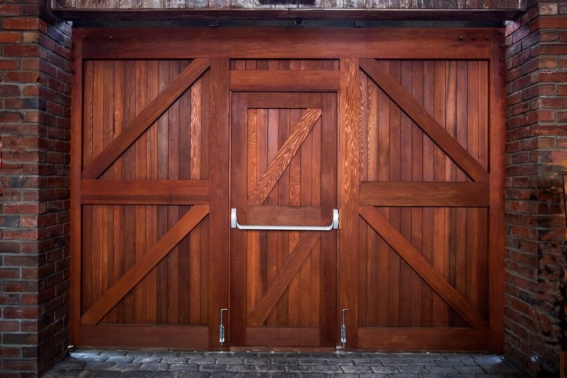 View of a wooden door at The Laboratory Bar & Restaurant