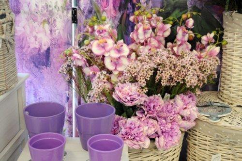 Composizione floreale tonalità lilla