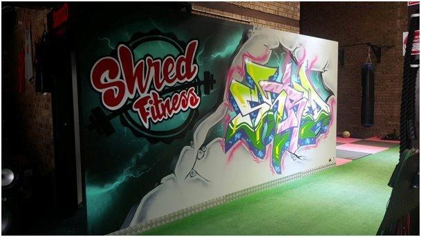 Shred Fitness wall graffiti