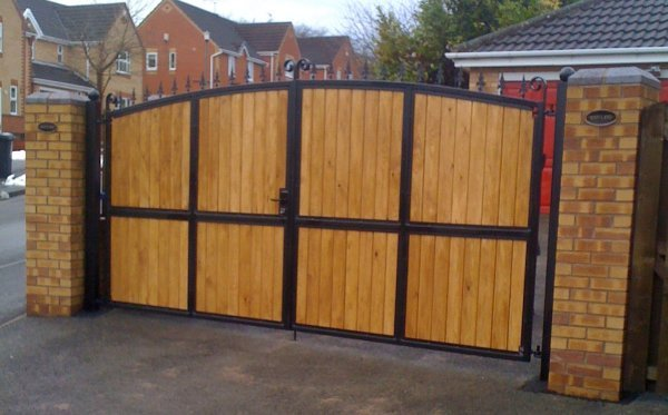 iron with pine wood infil gates