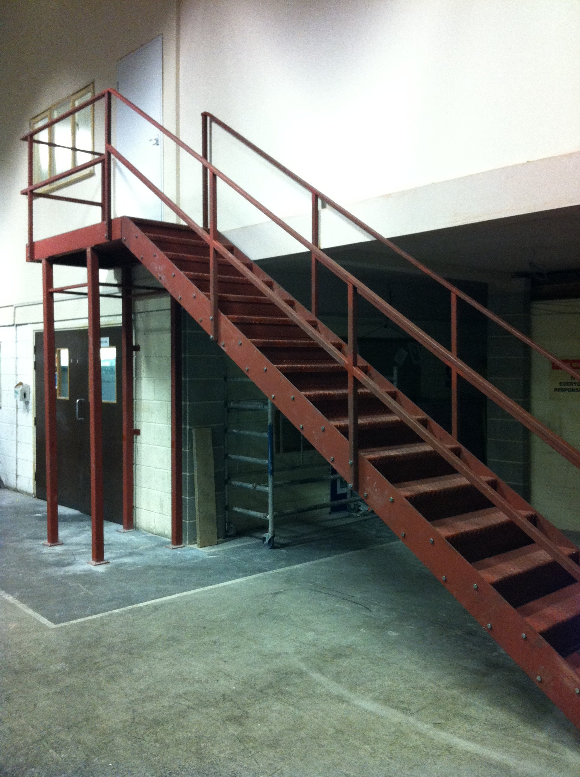 brown metal staircase