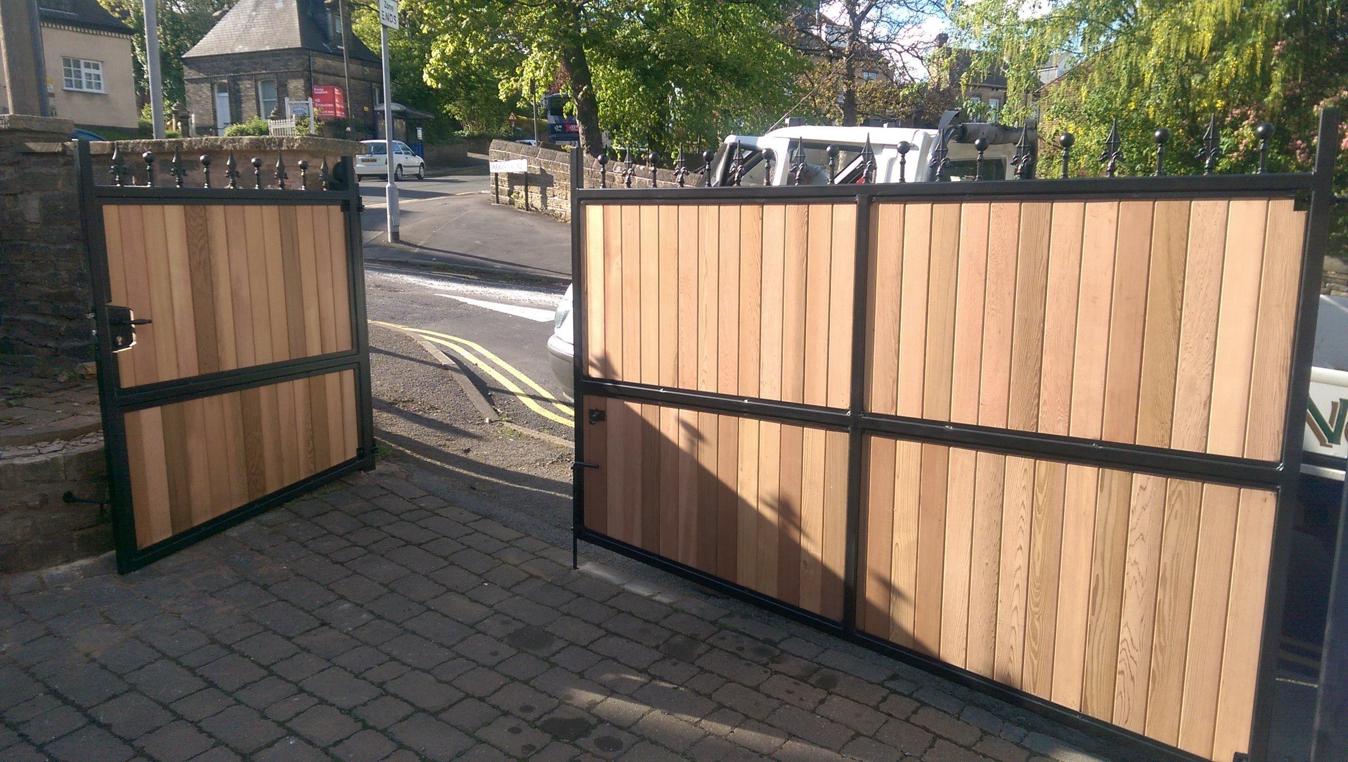 Driveway gate wood cedar installation