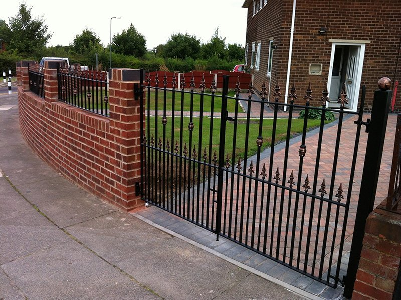 black drive gates and railings gates