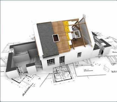 riproduzione in 3D di un edificio in costruzione