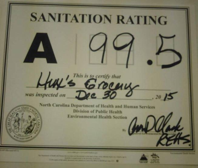 Sanitation rating certificate