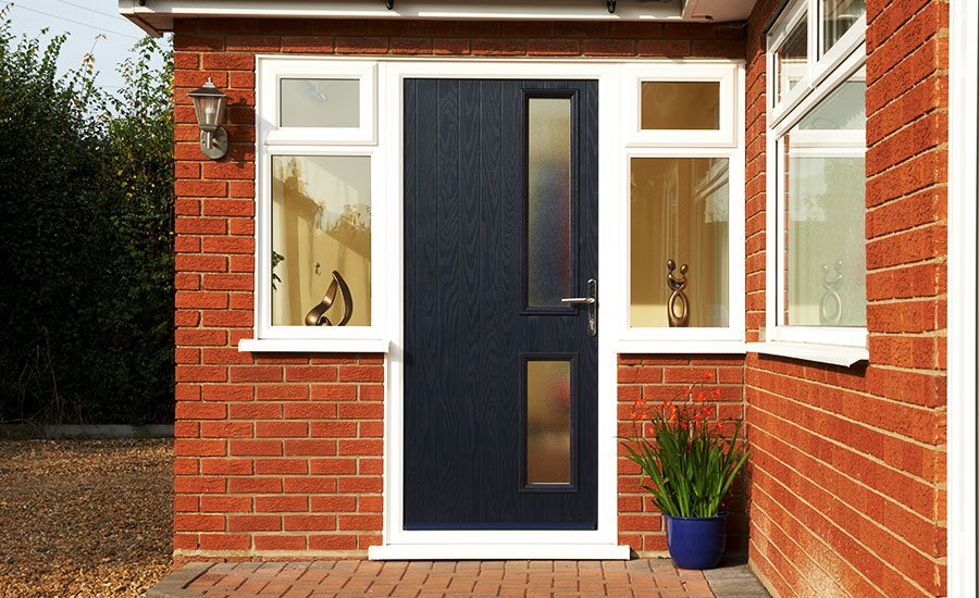 Modern front door with two side windows
