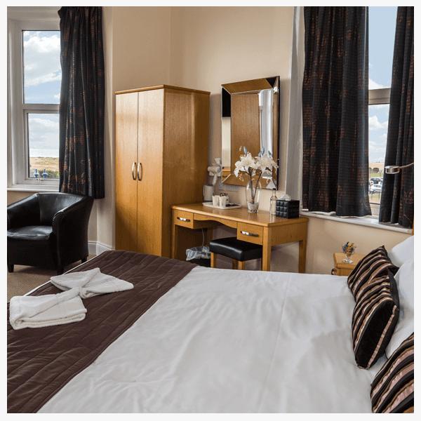 Hotel room overlooking beach