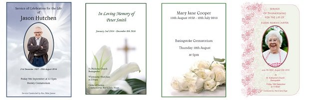 Fixed price funeral order of service booklets / sheets
