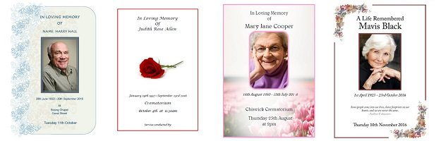 Funeral order of service booklet / sheets design and print service