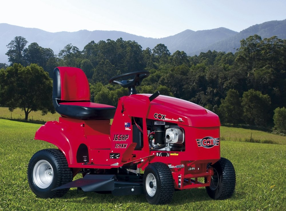 large red riding lawn mower